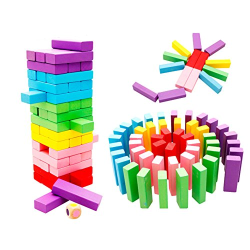 O-Toys Stacking Game Wooden Toys for Kids Board Games Building Blocks Dominoes Tower Play Set for Boys Girls Rainbow Color 48 Pieces by O-Toys