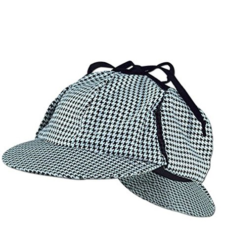 [Sherlock Holmes Detective Cap Hat - Funny Party Hats, One Size, Black and White] (Sherlock Holmes Costume)