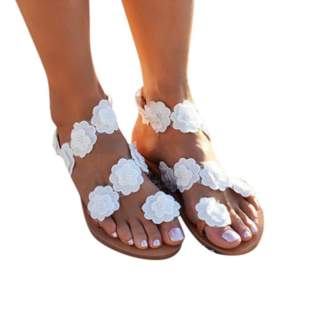 LIEJIE Fashion Womens Toe Flower Flat Bottom Sandals Shoes Summer Open Toe Rome Sandals for Leisure,Banquet,Beach,Office
