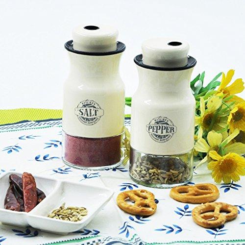 Aelga Salt and Pepper Shakers Set of 2 with Adjustable Pour Holes - Elegant Designed 4.7 Inch Kitchenware 4.4 oz Bottles Cream Yellow