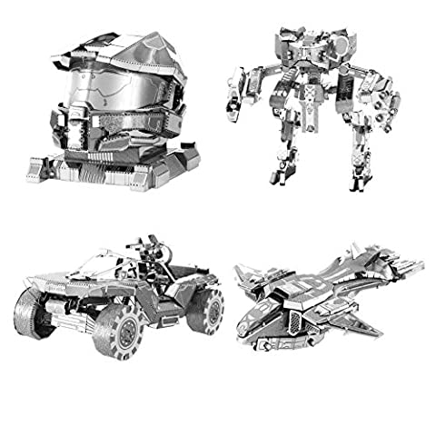 Metal Earth 3D Model Kits - HALO Set of 4 - UNSC Mantis, Pelican, Warthog & Master Chief Helmet (Halo Master Chief Pop)