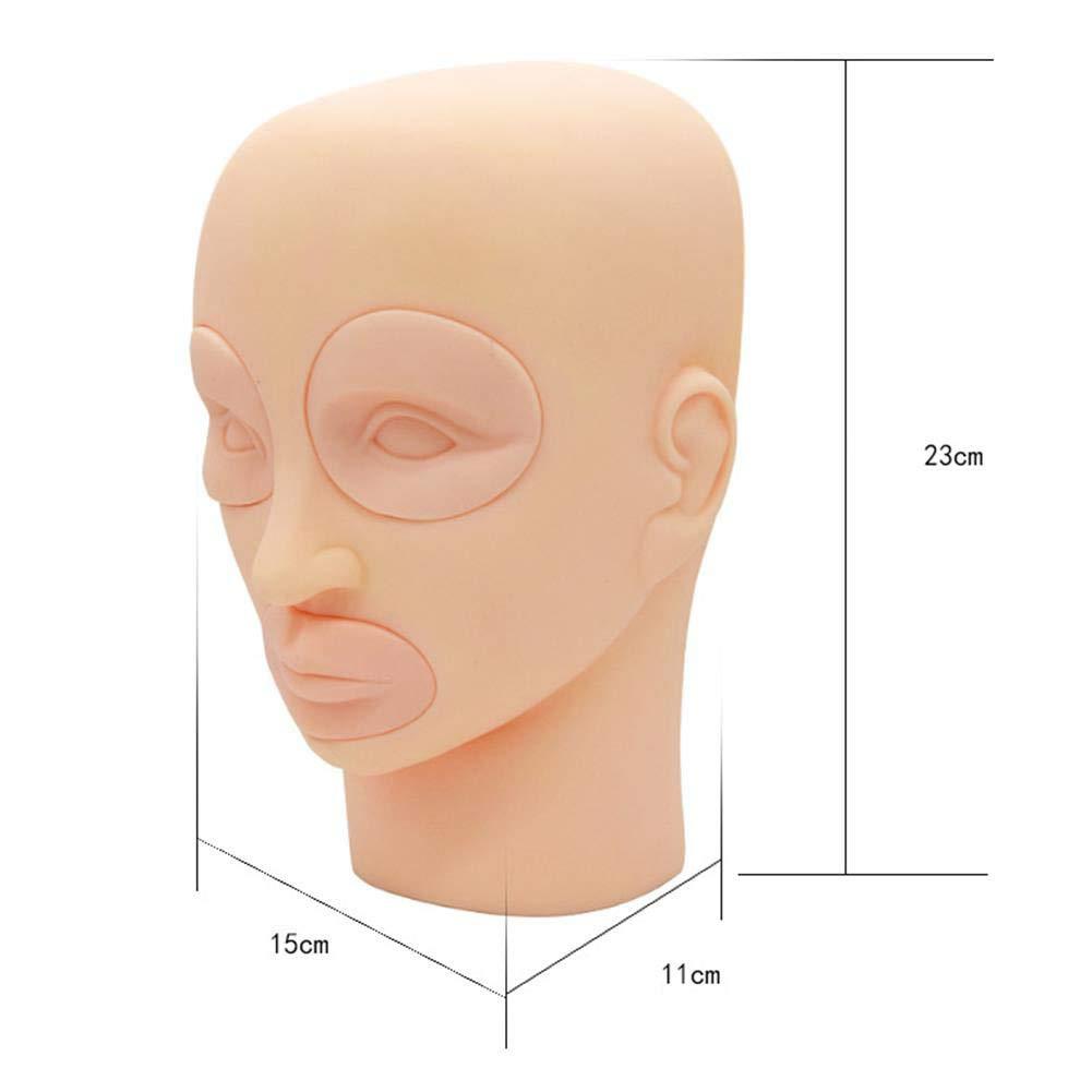 LPVIE Tattoo Training Model 3D Mannequin Head Model Silicone Practice Module Detachable Eyes Lips Expansion Practice Model