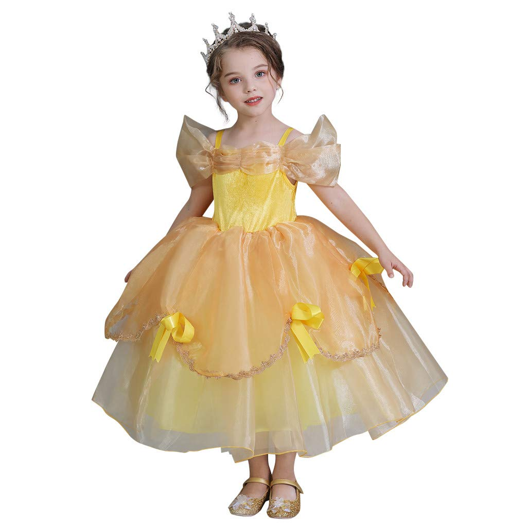 Sameno Toddler Kid Girls Princess Dress 3-10t Bow Lace Tulle Off Shoulder Pageant Party Formal Evening Ball Gown Tutu Yellow by SamXmasBaby