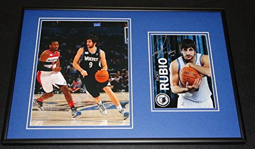 Autographed Ricky Rubio Photo - Framed 12x18 Set - Autographed NBA Photos - Nba Coin Set