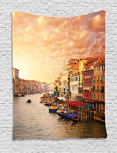 Ambesonne Scenery Tapestry, Venezia City Italian Landscape with Old Ancient Houses Gondollas and Spikes Image, Wall Hanging for Bedroom Living Room Dorm, 60 W X 80 L Inches, Orange Yellow