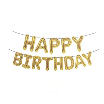 Happy Birthday Balloons Banner Foil Letters Mylar For Party Decoration