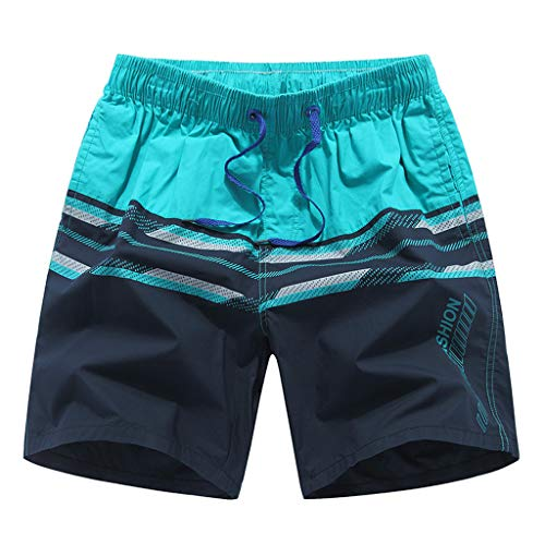 (Wobuoke Fashion Casual New Summer Color Collision Loose Beach Sport Shorts Pant Blue)