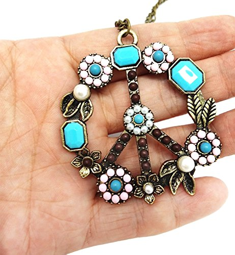 QTMY Cool Antiwar Peace Sign Pendant Long Necklace for Women Girls,Fashion Costume Jewelry