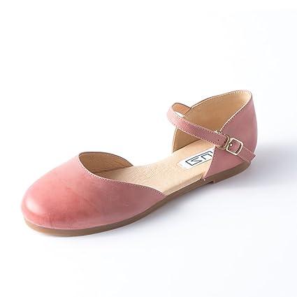 b4c4ef0f630 QIDI Sandalias Suela De Goma Mujer Rosa Cabeza Redonda Talón Plano Zapatos  Individuales (Tamaño