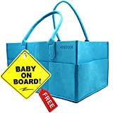 Clearance Knidose Room Organizer and Toy Storage for Kids - Portable Travel Nursery Storage for Boys & Girls | Home Decor | Baby On Board Sign with Suction Cup for Car (Blue)