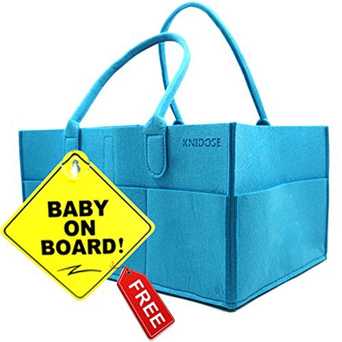 Baby Diaper Caddy Organizer Bag for Mom | Baby Shower Gift for Newborn | Portable Travel Nursery Storage for Boys & Girls | Baby On Board Sign with Suction Cup (Nursery Sign Board)