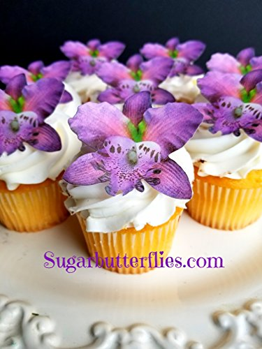 - Sugar Butterflies Edible Wafer Violet Orchid flower,Cake/Cupcake Toppers, Set of 12