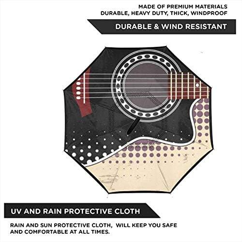 アコースティックギター ユニセックス二重層防水ストレート傘車逆折りたたみ傘C形ハンドル付き