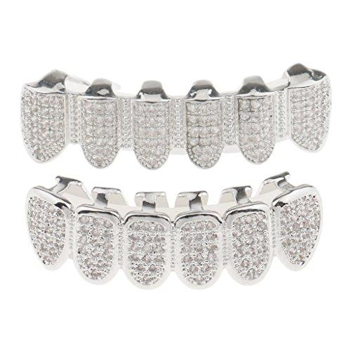 Lovoski 歯グリル 歯キャップ シルバー クリスタル 輝く コスプレ ファッションの商品画像