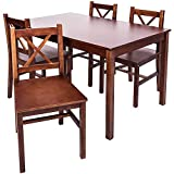 Merax 5 PC Solid Wood Dining Set 4 Person Table and Chairs (Walnut.)