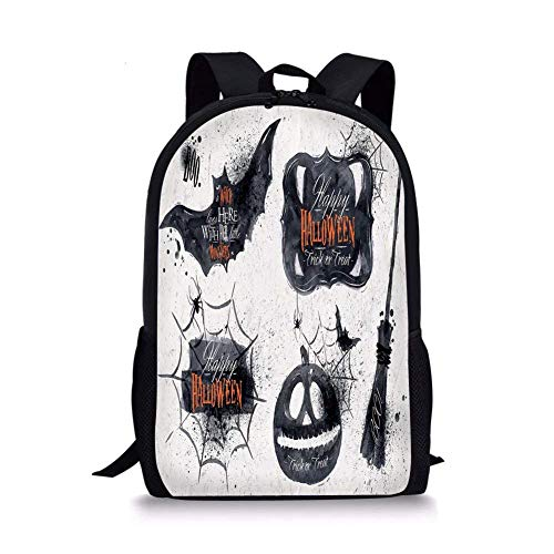(School Bags Vintage Halloween,Halloween Symbols Happy Holiday Witch Lives Here Broomstick Spider Web Decorative,Black White for Boys&Girls Mens Sport)