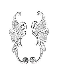 CIShop Butterfly Climber Earrings Cubic Zirconia Stud Earrings Sterling Silver Ear Cuff Earrings