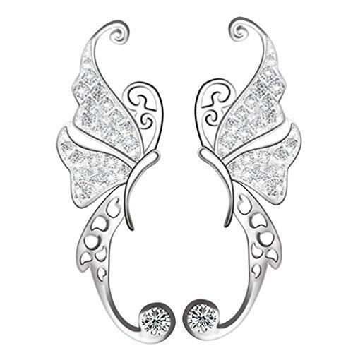CIShop Butterfly Climber Earrings Cubic Zirconia Stud Earrings Sterling Silver Ear Cuff (Silver Butterfly Cuff)