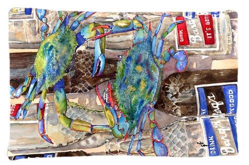 Large Carolines Treasures 8914PILLOWCASE Blue Crabby Bottles of Barks Root Beer Moisture Wicking Fabric Standard Pillowcase Multicolor