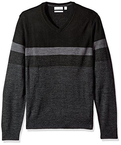 Calvin V-neck Sweater - Calvin Klein Men's Merino Sweater V-Neck, Black Jack Combo, Large