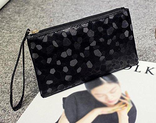2cm Cartera de Dorada Bolso de Moda Negro Mujer de Casual 11 Mano de Fablcrew Luz PU la Cuero para 19 qvdgag