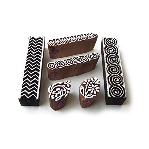 Wooden Artistic Elephant (Artistic Spiral and Border Pattern Wooden Printing Blocks (Set of 6))