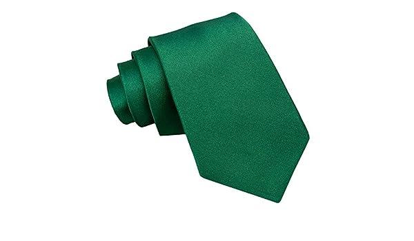 Nueva corbata de caballero lisa de satén DQT - Verde Esmeralda ...