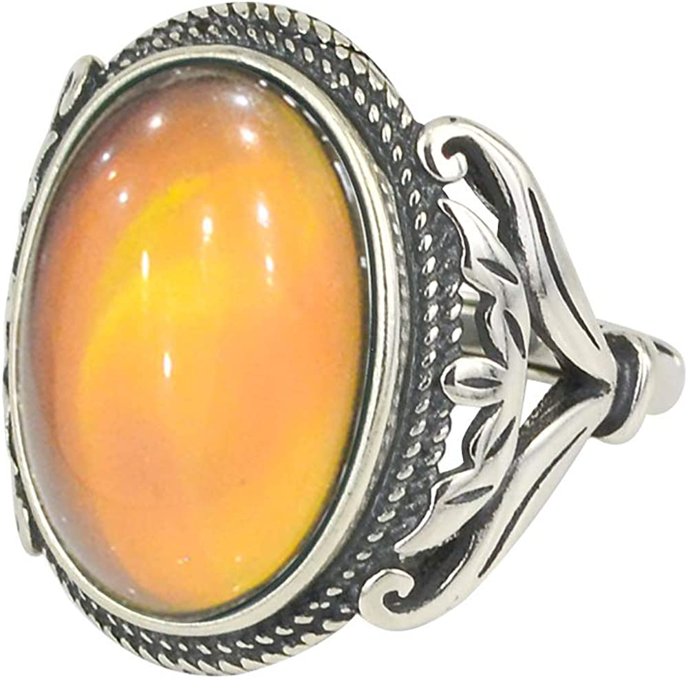 Fun Jewels Burnished Sterling Silver Multi Color Change Oval Stone Mood Ring Size Adjustable