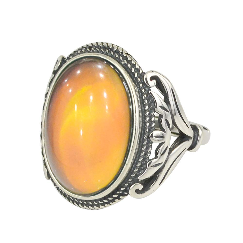 Fun Jewels Burnished Sterling Silver Multi Color Change Oval Stone Mood Ring Size Adjustable by Fun Jewels
