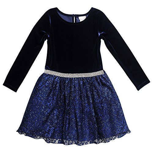 Youngland Little Girls' Velvet Dropwaist Occasion Dress with Rhinestone Trim, Navy, 4