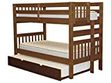 Bedz King Bunk Beds Twin Over Twin Mission Style with End Ladder and a Twin Trundle, Espresso