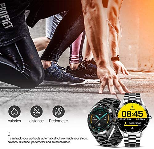 Smart Watch for Men Stylish, Fitness Trackers Waterproof with Heart Rate for Android iPhone, Sports Watch Bluetooth Call Answer Pedometer Stainless Steel 2