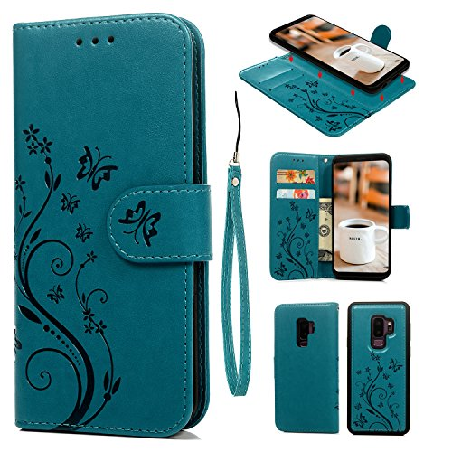 Galaxy S9 Plus Case, Galaxy S9 Plus Wallet Case Premium Synthetic PU Leather Embossed Butterfly Detachable Wallet with Credit Card Cash Slots for Galaxy S9 Plus, Blue