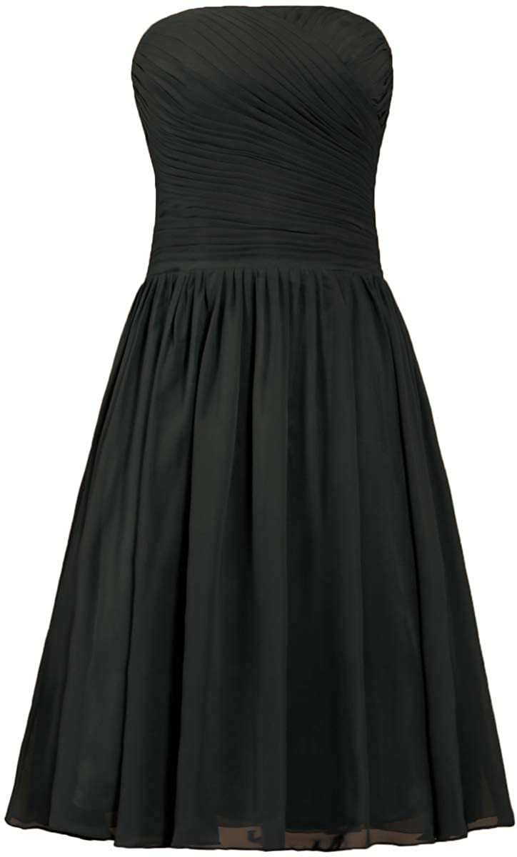 ANTS Strapless Chiffon Bridesmaid Dresses Short Cocktail Party Gowns