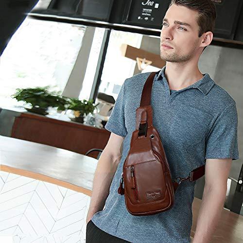 mochila diario gran color de Leathario bolso sintetica de de para hombre de de marrón 4 autentico bolso retro cuero con oscuro piel capacidad estilo marrón hombre pecho BR6q0w