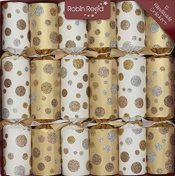 R&R 6 x 12 (inch) Handmade English Christmas Table Decorations - White Gold Glitter Spots