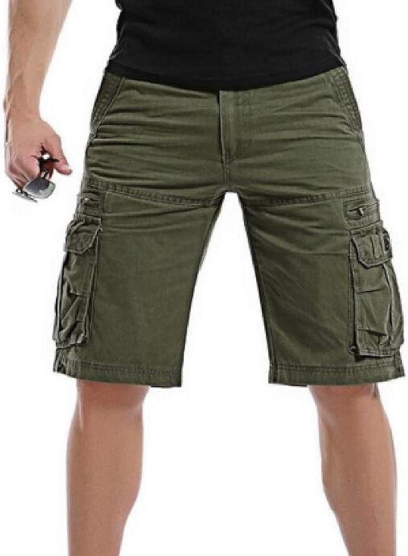 Hajotrawa Men Ripstop Multi-Use Pocket Knee-Length Outdoors Rugged Cargo Shorts