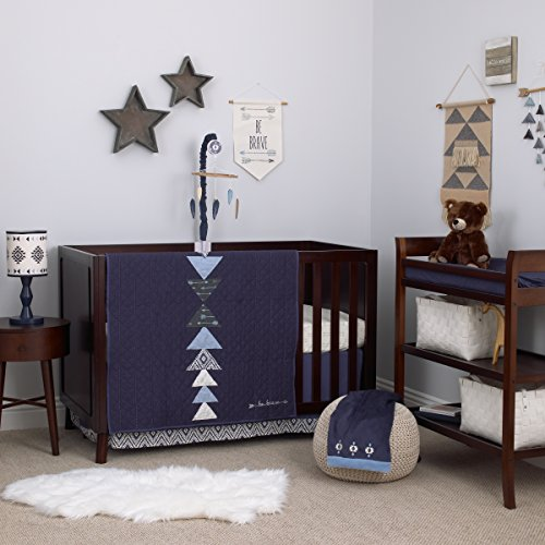 Carter's Carter's - Be Brave - 3-Piece Crib Bedding Set, Navy, Light Blue, White (New Baby Crib Nursery Quilt)