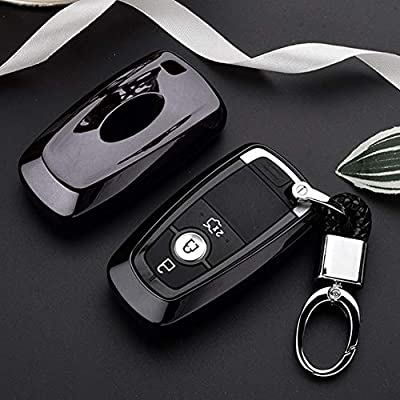 Mofei for Ford Key Cover Fob Shell Case TPU Protector Holder with Key Chain Compatible with Ford Fusion F150 F250 F350 F450 F550 Edge Explorer Escape Mustang Remote Keyless Entry (Black): Automotive