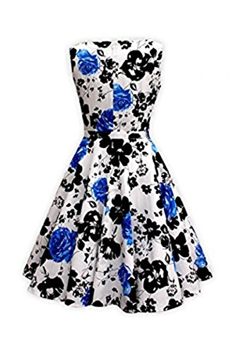 Vintage 1950s 1960s Sleeveless Picnic Rockability Swing Party Dress for Women,Blue,XX-Large (Plus Size Teen)