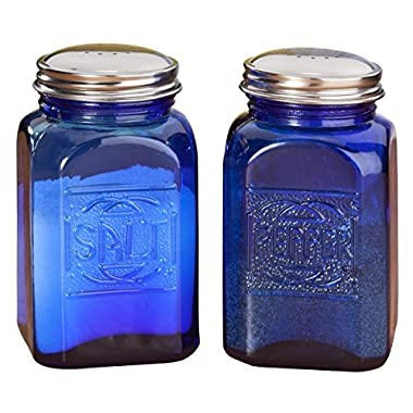 American Reproductions Glass Embossed Retro Salt and Pepper Shaker (Blue)