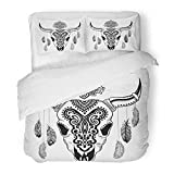 Emvency 3 Piece Duvet Cover Set Brushed Microfiber Fabric Breathable Longhorn Tribal Animal Skull with Ethnic Ornaments Mexican Tattoo Western Bull Bedding Set with 2 Pillow Covers Full/Queen Size