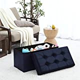 """Ellington Home Foldable Tufted Faux Leather Large Storage Ottoman Bench Foot Rest Stool/Seat - 15"""" x 30"""" x 15"""" (Navy)"""