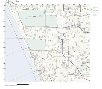Zip Code Wall Map Of El Segundo Ca Zip Code Map Laminated Amazon