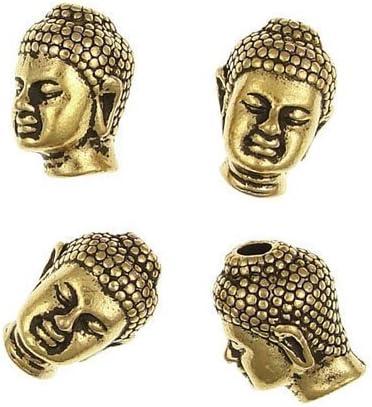 Charming Beads HA02495 Paquet 5 x Or Antique Alliage Plaqu/é 10 x 13mm Perles T/ête De Bouddha