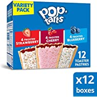 Kellogg's Pop-Tarts Variety Pack - Toaster Pastries for Kids, Frosted Strawberry, Frosted Blueberry, Frosted Cherry (12 Count)(Pack of 12, 144 tarts total)