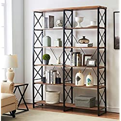 """O&K Furniture 80.7"""" Double Wide 6-shelf Bookcase, Industrial Large Open Metal Bookcases Furniture, Etagere Bookshelf Home & Office, Vintage Brown"""