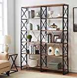 "Cheap O&K Furniture 80.7"" Double Wide 6-shelf Bookcase, Industrial Large Open Metal Bookcases Furniture, Etagere Bookshelf Home & Office, Vintage Brown"