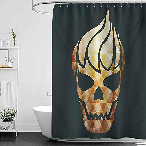 home1love Hotel Style Shower Curtain,Modern Gothic Skull with Fractal Effects in Fire Evil Halloween Concept,Art Print Polyester,W48x72L,Yellow Pale Caramel Dark Grey