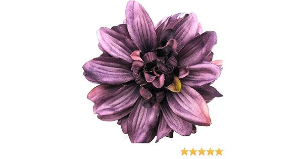 4.5 Purple Dahlia Silk Flower Hair Clip with Teeth